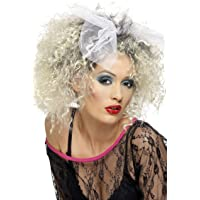 Smiffy's Women's Short Blonde Curly Wig with Bow, 80's Wild Child Wig, One Size, 42031