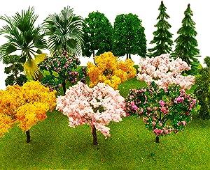 MOMOONNON 14 Pcs Miniature Fairy Garden Tree Plant Ornamentm, Mixed Model Trees 1-4 Inches, Miniature Dollhouse Pots Decor Moss Bonsai Micro Landscape DIY Craft Garden Ornament
