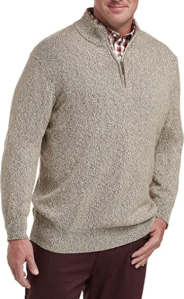 Harbor Bay by DXL Big and Tall Quarter-Zip Mock Sweater