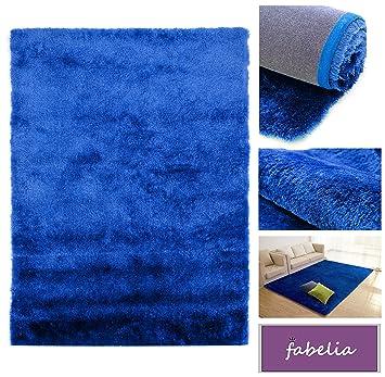 Fabelia Hochflor Teppich Shaggy Gentle Luxus 10 cm x 10 cm Muster, Blau Weich und Handgetuftet
