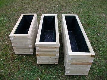 wooden rectangular high garden trough planter large l 120cm x w 32cm x h 45cm