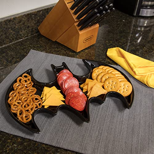 "Batman Ceramic Serving Platter - DC Comics Bat Symbol Design Tray - Dishwasher and Microwave Safe - Black - 14"" x..."