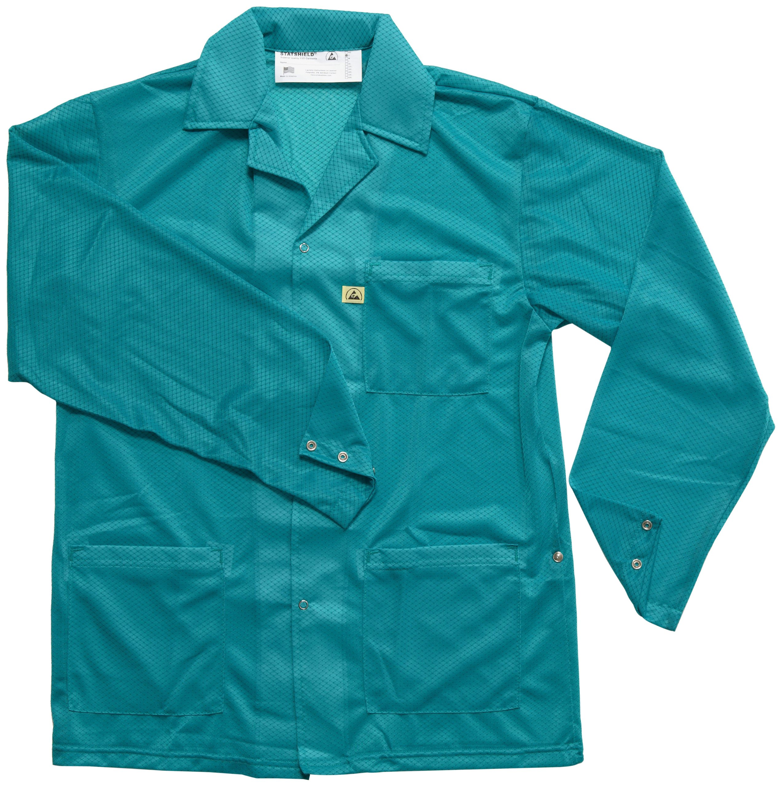 DESCO 73844 Polyester Smock Statshield Jacket with Snaps, 31'' Length, X-Large, Teal