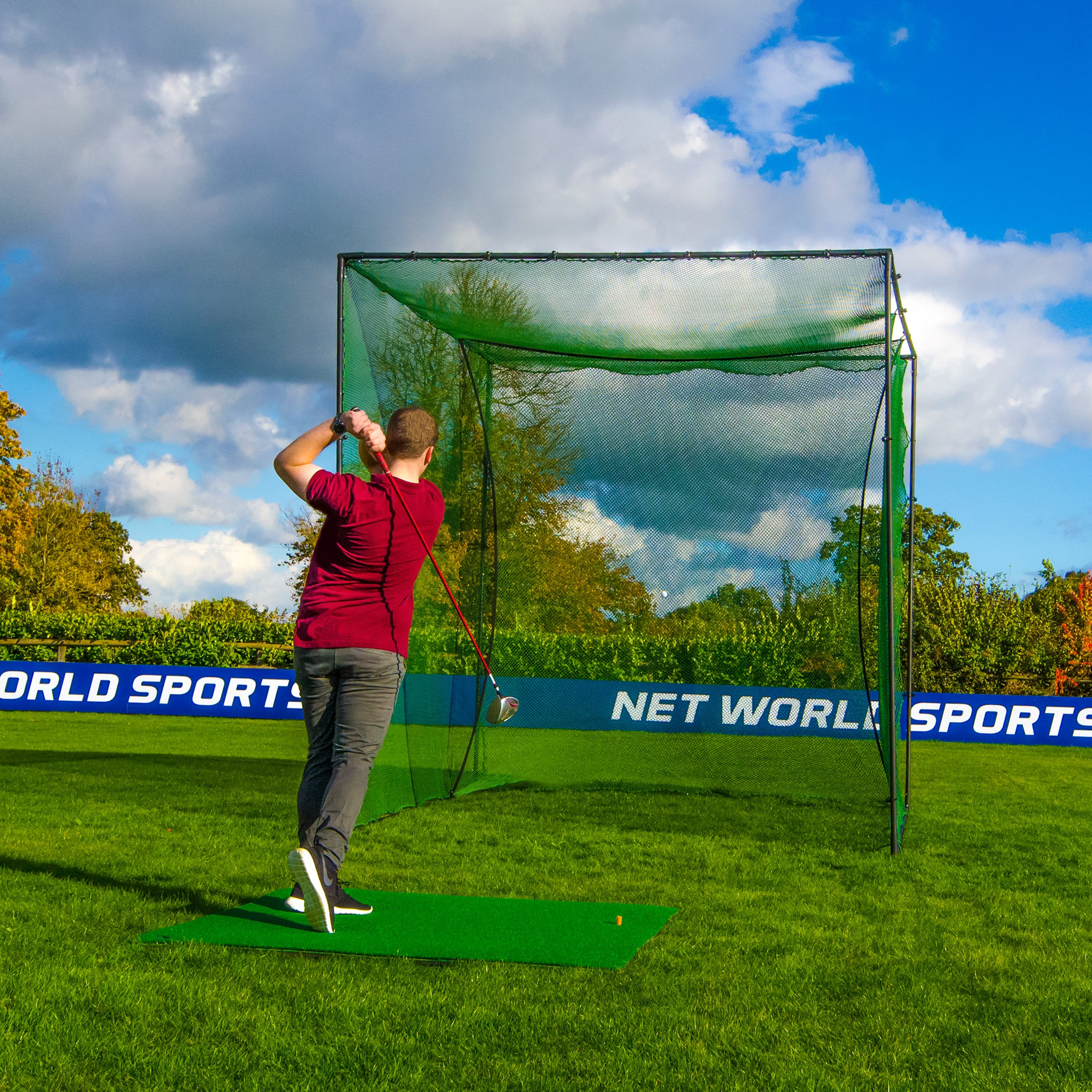 Freestanding Golf Cage - Home Driving Range Net Practice Your Golf Safely From The Comfort Of Your Backyard [Net World Sports]