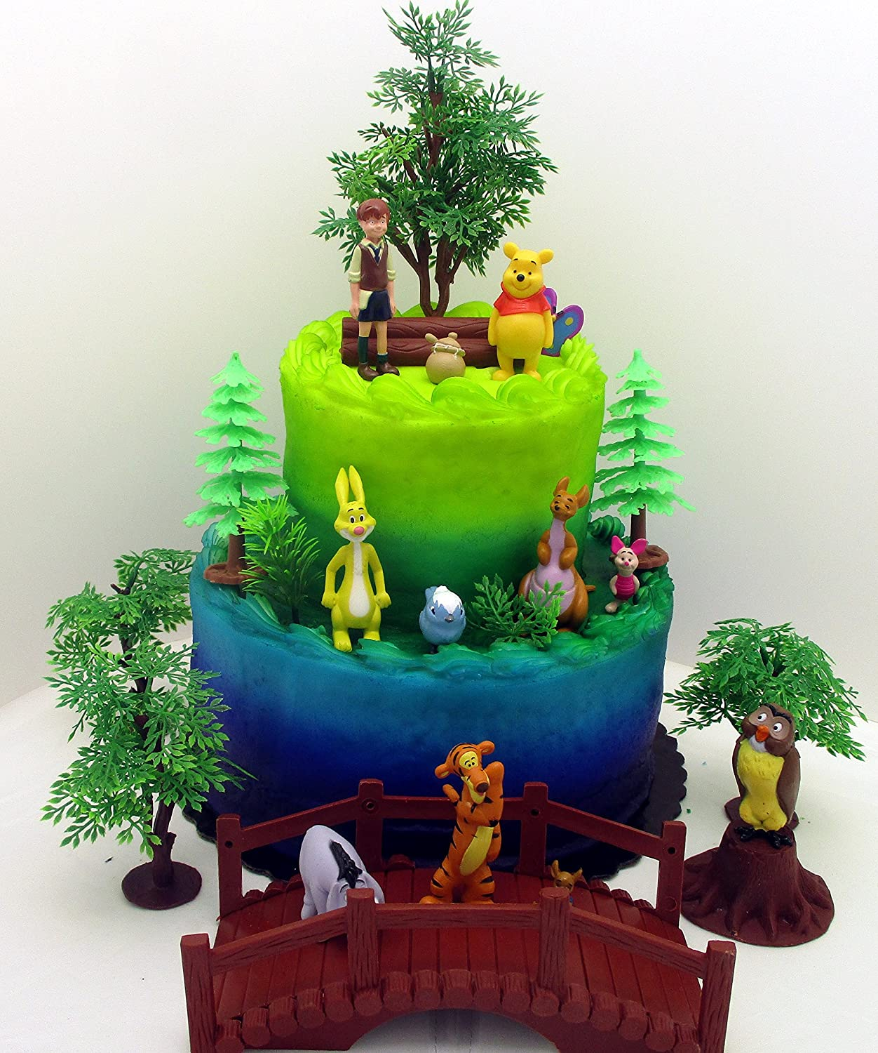 Winnie The Pooh 16 Piece Birthday Cake Topper Set Featuring 2 Figures Of Eeyore Kanga Roo Owl Tigger Piglet Rabbit