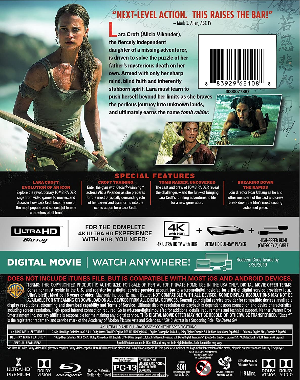 Amazon Com Tomb Raider 4k Ultra Hd Blu Ray Alicia Vikander