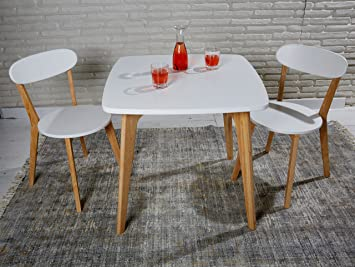 Sitzgruppe Aus Esstisch Und 2 Stühlen Im Skandinavischen Retro Stil Weiß  Mit Massivholzbeinen   Essgruppe Mit