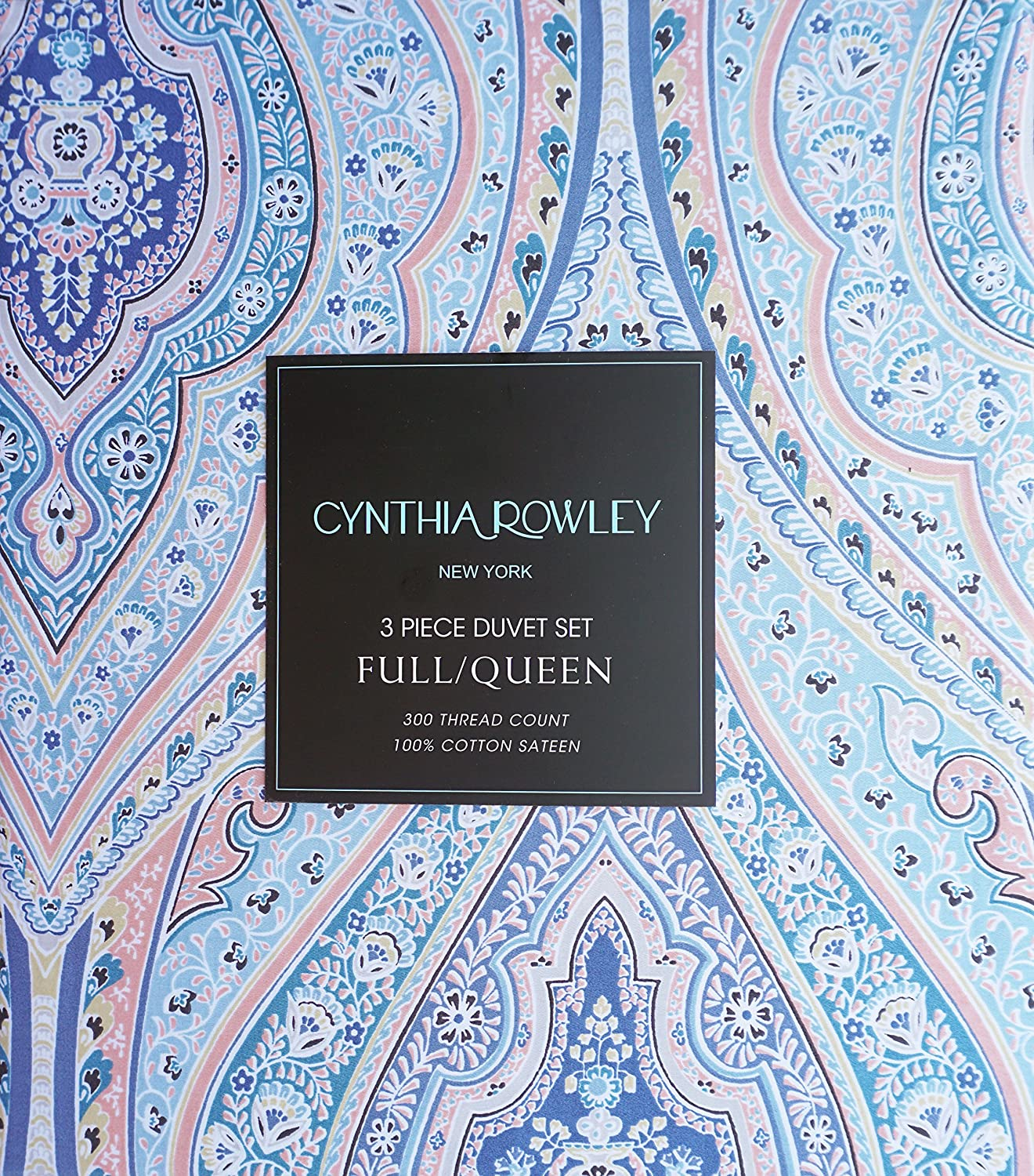 Queen Size Duvet Comforter Cover Set and Shams Classical Ornate Boho Exotic Floral Medallions Print Pattern in Shades of Blue Yellow Salmon Pink and White Cynthia Rowley Home Bedding 3 Piece Full