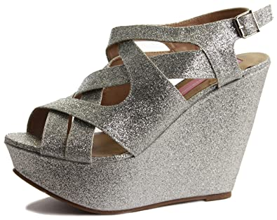 ceef4a78500 Ladies Womens High Heels Beige Black Silver Platform Peep Toe Summer  Strappy Sandals Wedge Shoes Size 3-8  Amazon.co.uk  Shoes   Bags