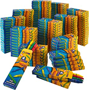 Kicko Bulk Crayons- 576 Assorted Coloring Crayons - 144 Packs of 4 Crayon - Perfect for School and Office Supplies, Arts and Crafts, Party Favors, Back to School Supplies and Restaurants