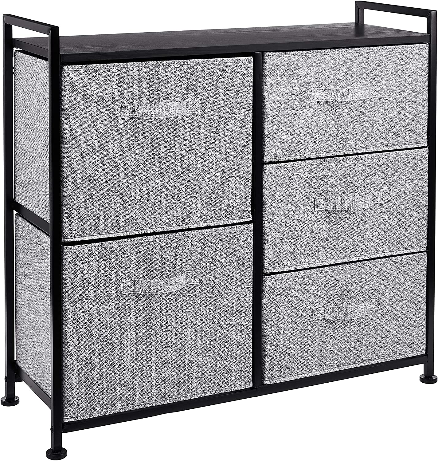 AmazonBasics Fabric 5-Drawer Storage Organizer Unit for Closet, Black