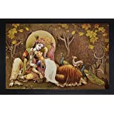 SAF Radha krishna Krishna Painting || krishna painting || Krishna poster || Krishna wall stickers || SAF exclusive Framed Wall Art Paintings for Living room and Bedroom. Frame size (Wood, 35 cm x 3 cm x 50 cm, Special Effect Textured) || Large painting