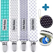 Pacifier Clip by Dodo Babies Pack of 4 + Pacifier Case, Premium Quality for Boys and Girls Modern Designs Universal Holder Leash for Pacifiers, Teething Toy, Baby Shower Gift Set