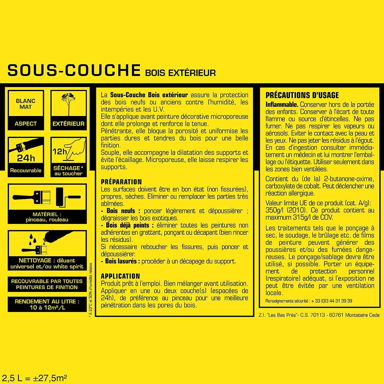 Sous Couche JULIEN Pour Bois Extérieur   Blanc Mat 2,5L: Amazon.fr:  Bricolage