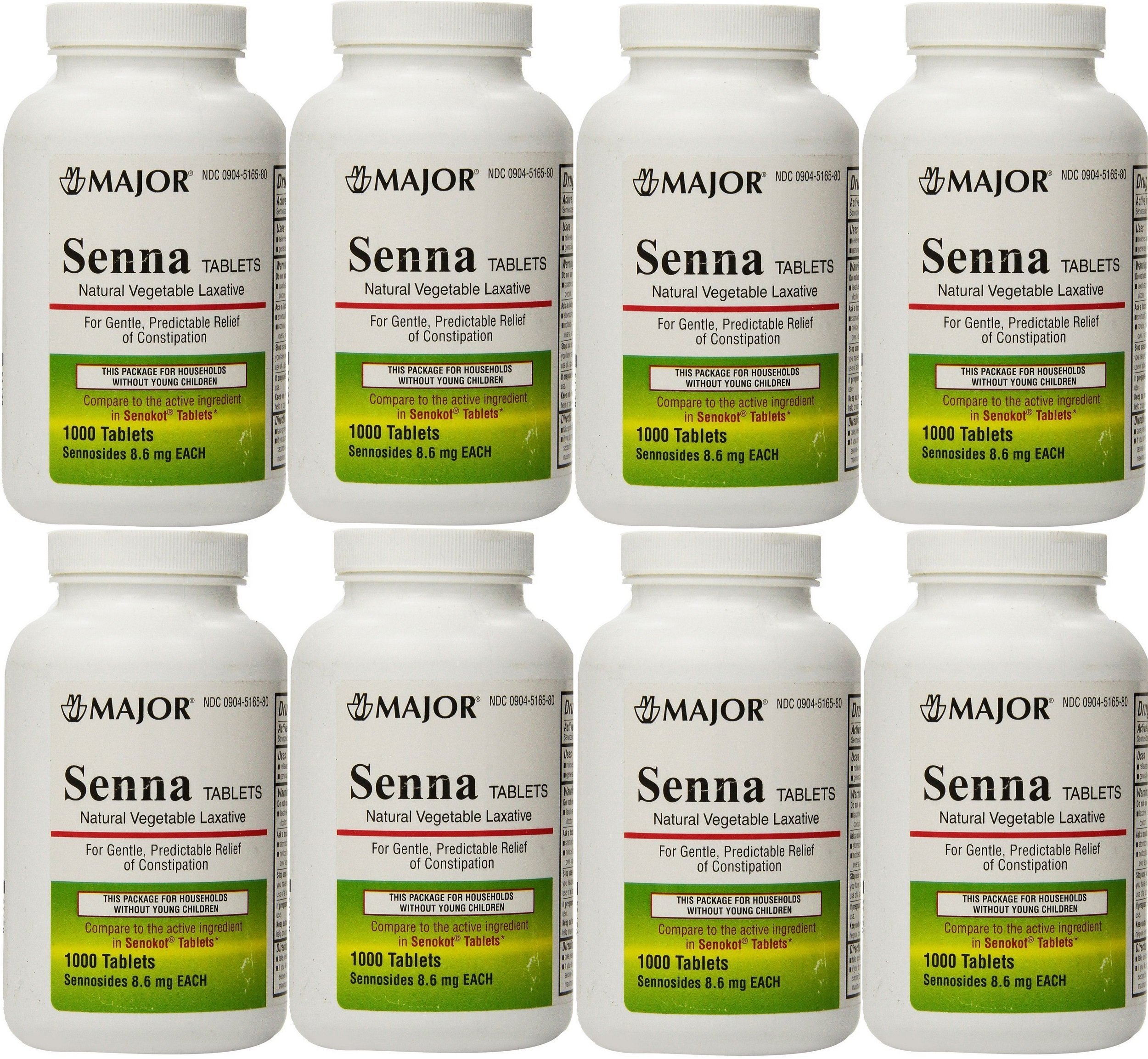 Senna 8.6 mg Generic for Senokot Natural Vegetable Laxative 1000 Tablets per Bottle Pack Of 8 Bottles by Major Pharmaceuticals