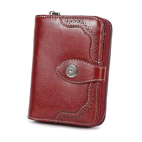 8be104793f Portafoglio donna RFID Mini pieghevole Portafoglio in vera pelle pieghevole  Porta carte di grande capacità di