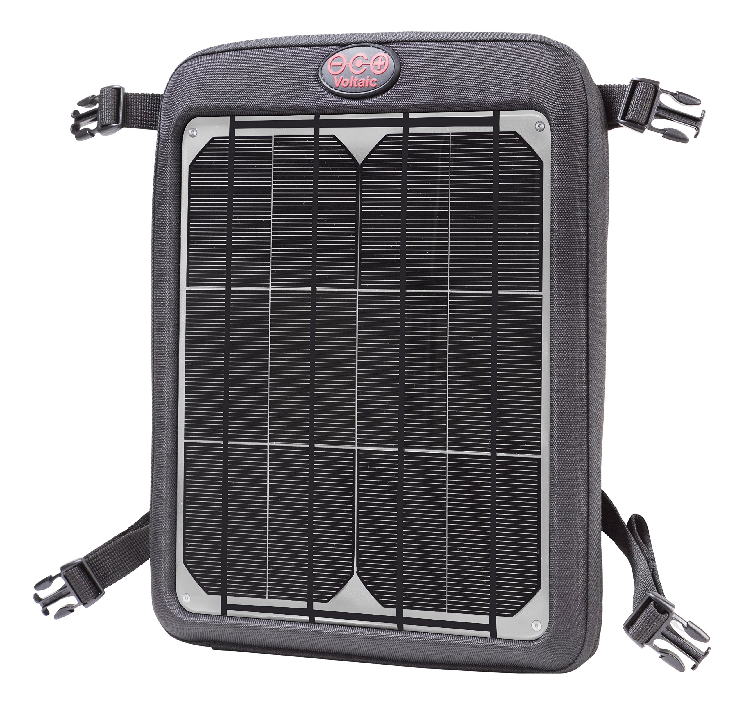 Votlaic Systems Fuse 9W Portable Solar Charger with Battery Pack (Dual USB, 12,000mAh) - Silver by Voltaic