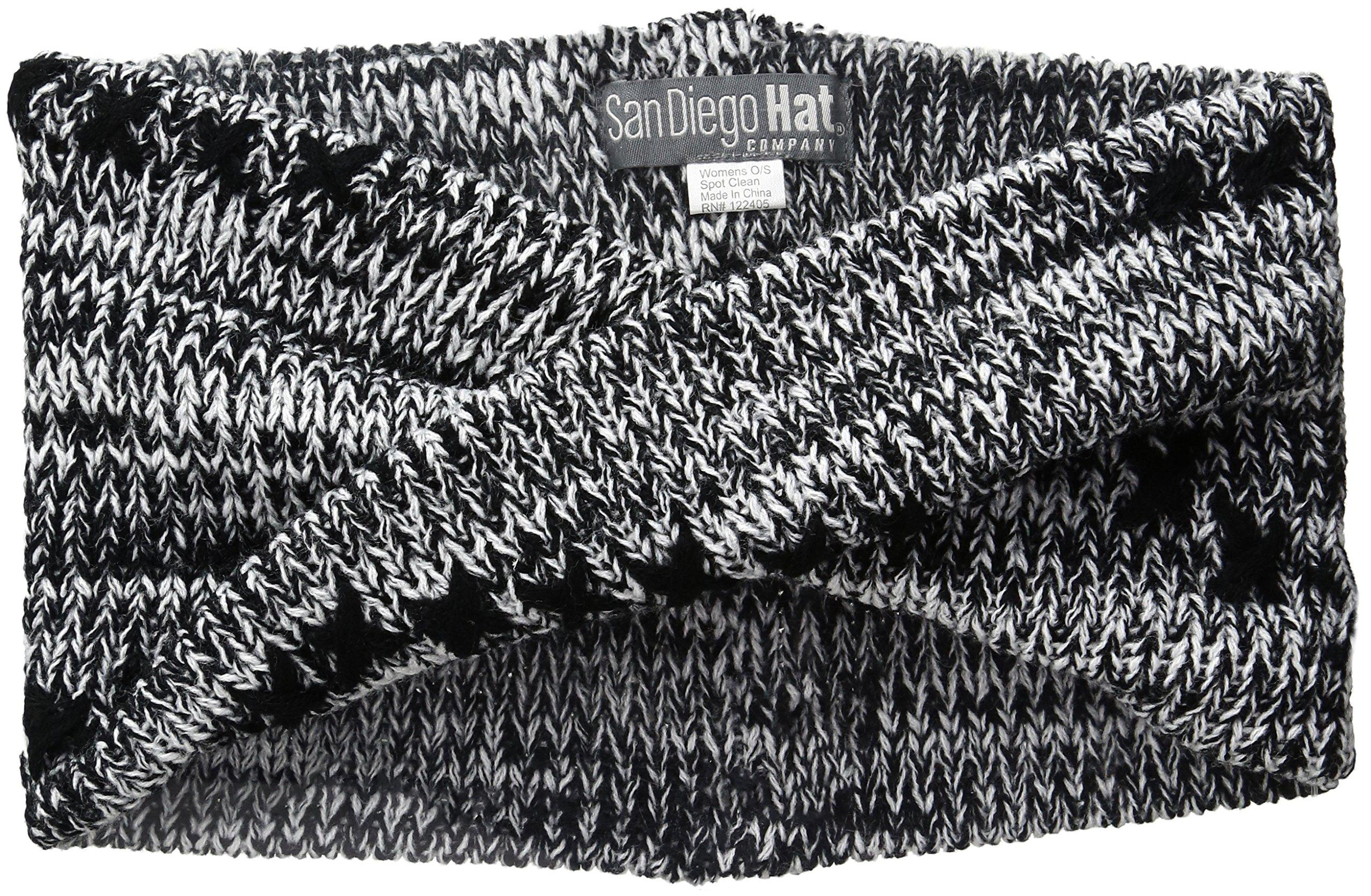San Diego Hat Company Women's Oversized Twist Knit Headband with Stitch Detail, Black, One Size