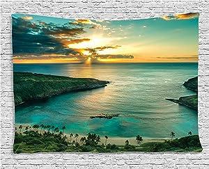"Ambesonne Hawaiian Tapestry, Sunrise Over Hanauma Bay Oahu Hawaii Sunbeams Through Clouds Shoreline, Wide Wall Hanging for Bedroom Living Room Dorm, 80"" X 60"", Green Orange"
