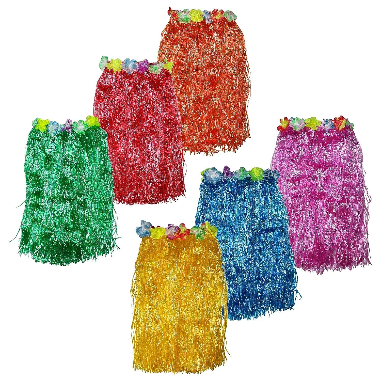 Tropical /& Karneval 60cm Lang Bastrock Deko R/öcke f/ür Kinder in 6 Bunten Farben Hawaii Kost/üm Verkleidung Verstellbarer Bund f/ür Damen Hula Rock Hawaii Rock 6er Set zum Party Outfit