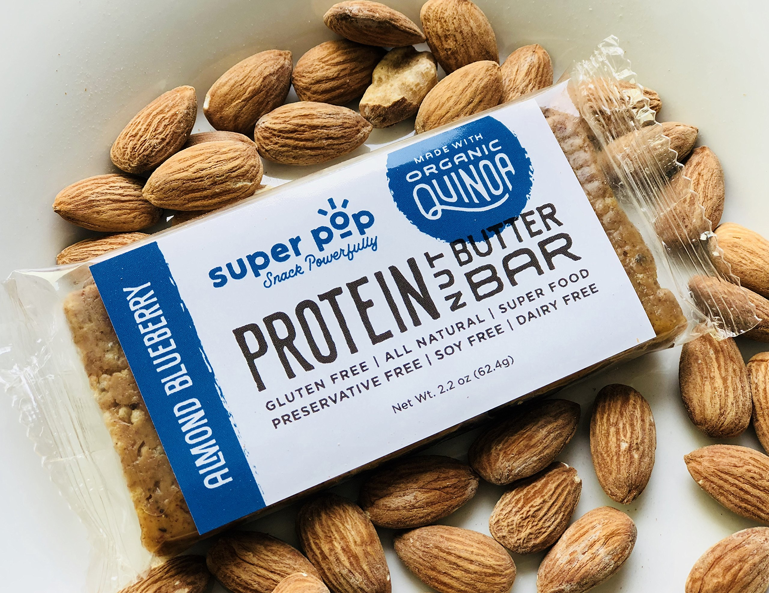 Super Pop Snacks, GLUTEN, SOY & DAIRY FREE, Plant Based Almond Blueberry Protein Nut Butter Bar— 12 Pack