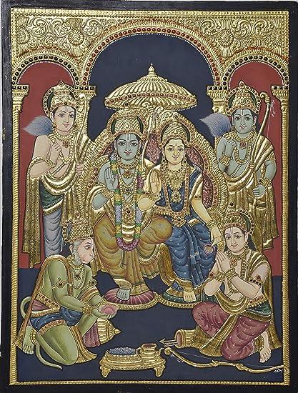 Tanjore Antique Rama Pattabhishekam Painting [ Item code - 8890