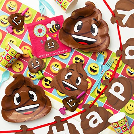 Amazon Creative Converting Poop Emojions Birthday Party Supplies Kit Serves 8 Toys Games