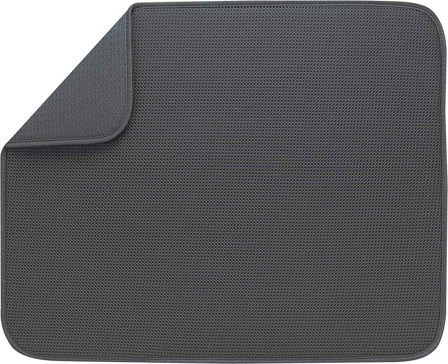 S&T INC. Absorbent, Reversible XL Microfiber Dish Drying Mat for Kitchen, 18 Inch x 24 Inch, Charcoal Mesh