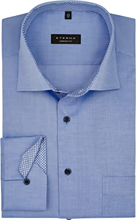 eterna Camisa de manga larga para hombre Comfort Fit New Kent cuello no necesita planchado