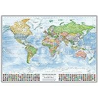 J.Bauer Karten Mappa Politica del Mondo, con Bandiere, in Inglese, Edizione 2015