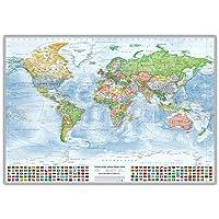 Mappa politica del mondo, con bandiere, in inglese, edizione 2015
