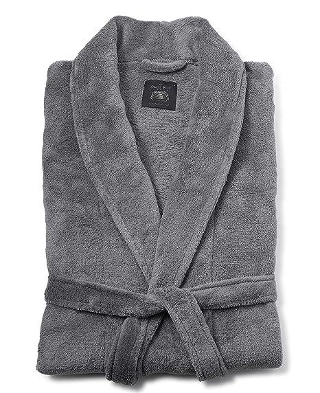 Savile Row Men\'s Grey Fleece Dressing Gown XL: Amazon.co.uk: Clothing