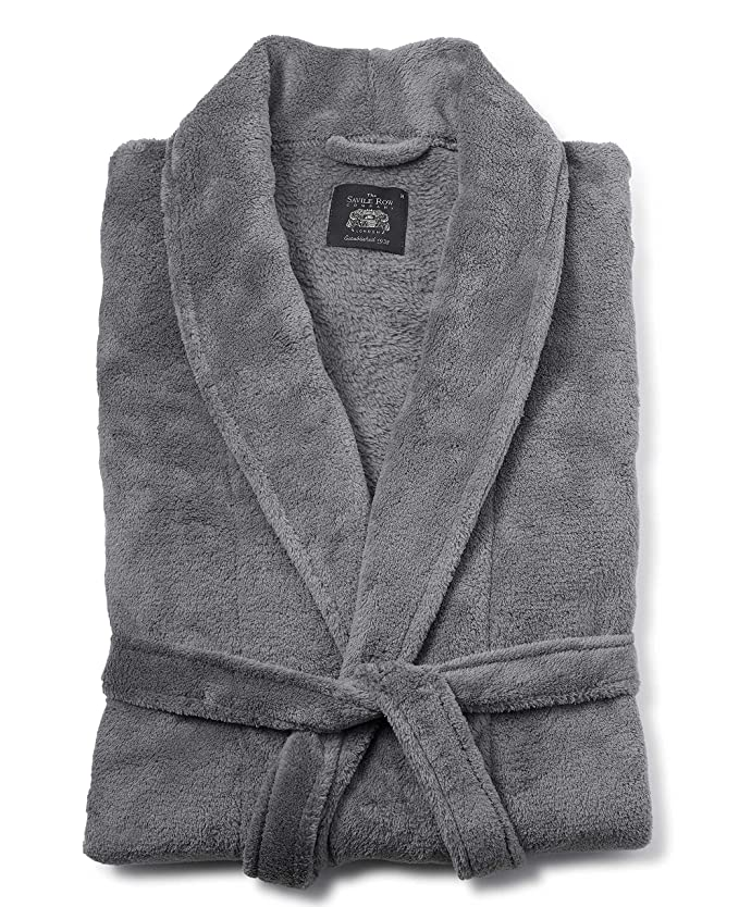 Savile Row Men\'s Grey Fleece Dressing Gown XL: Amazon.co.uk: Clothing