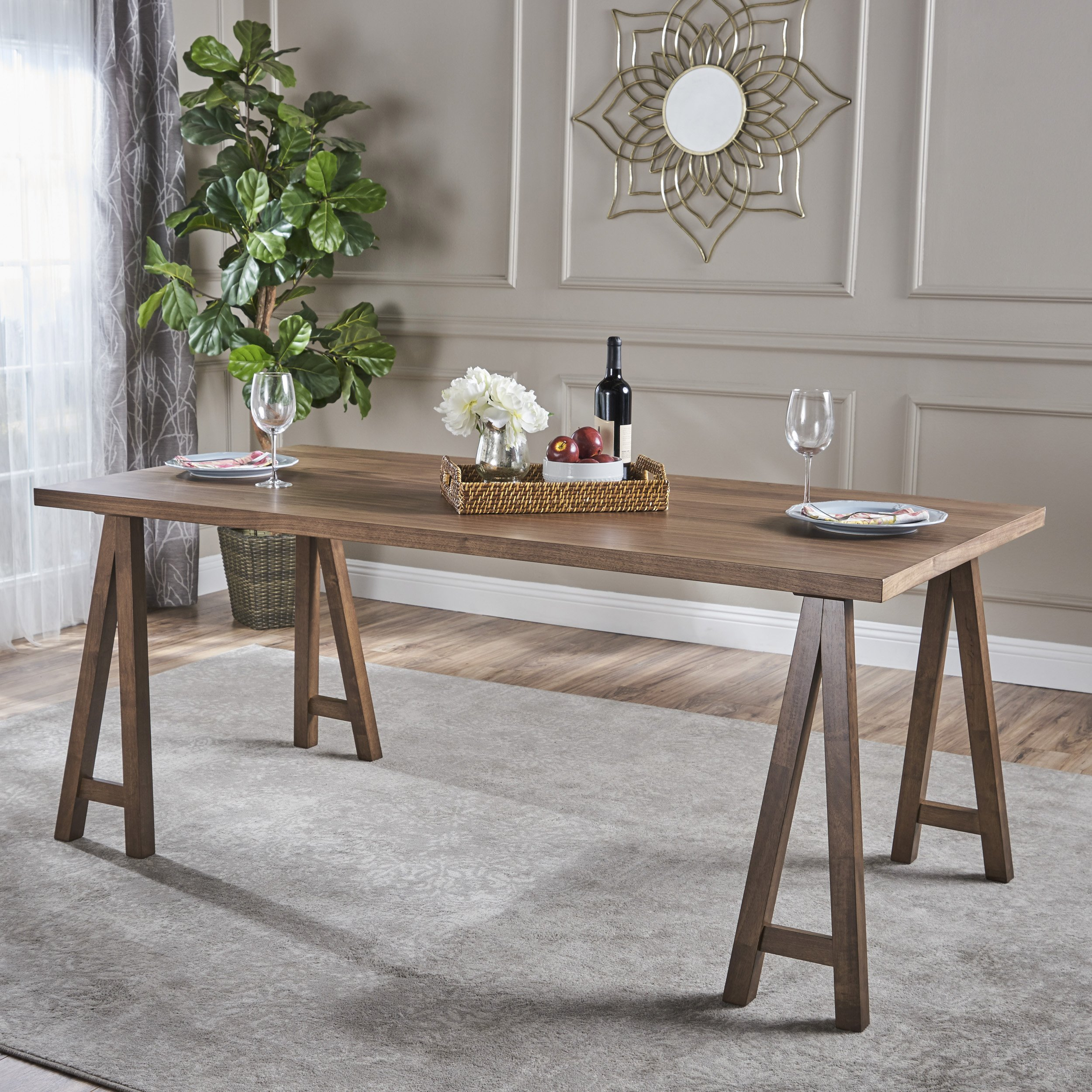 Versatile Kitchen Table And Chair Sets For Your Home: Sabrina Farmhouse Wood Finish Dining Table (Natural Walnut