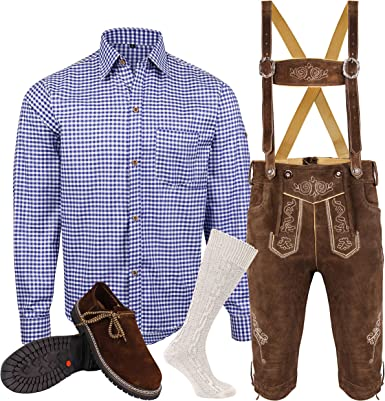 Speed4allkinds Herren Trachten Lederhose Größe 46 62 Trachten Set 5 Teilig Bayerische Trachtenlederhose,Hemd,Schuhe,Socken Neu