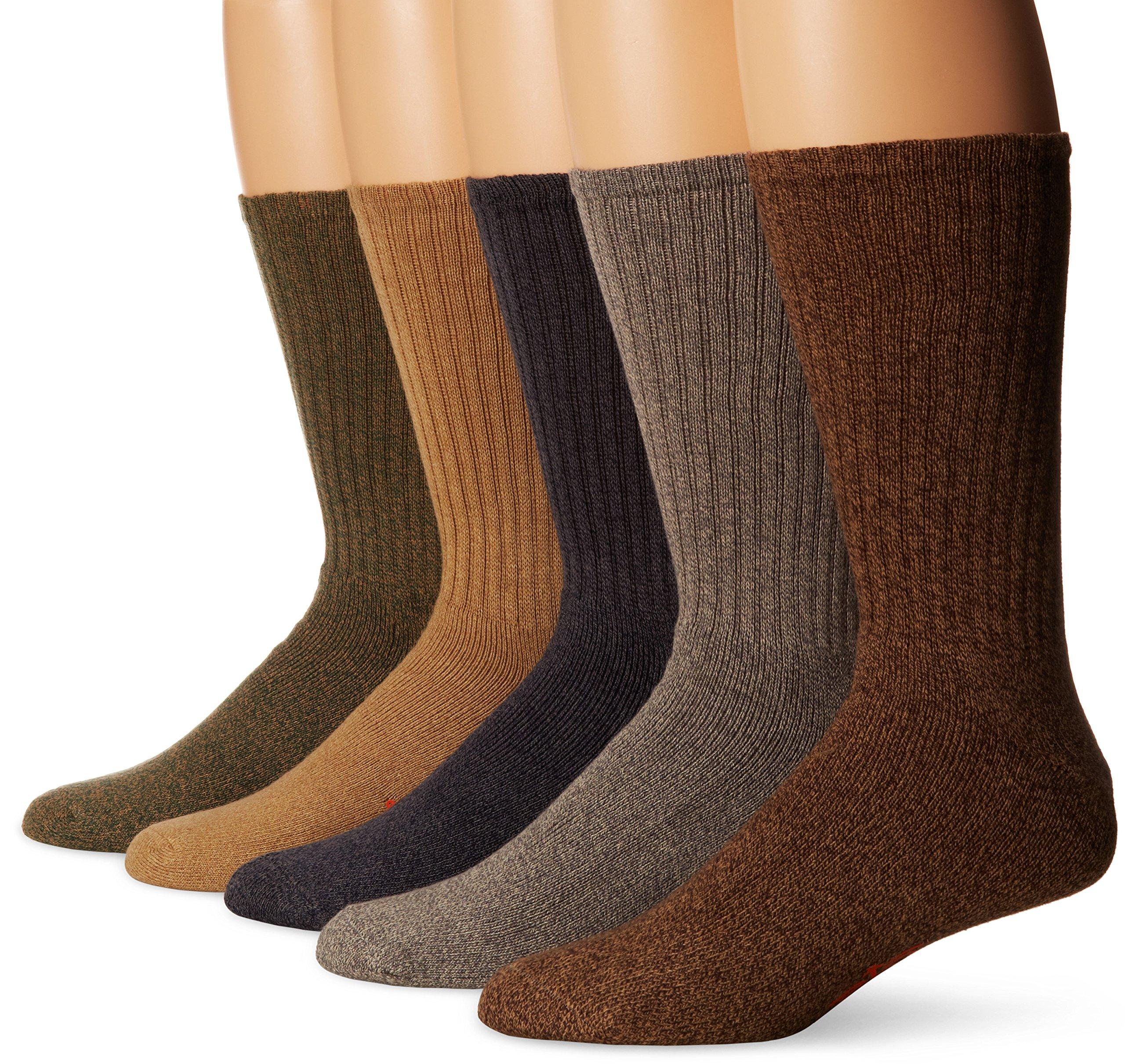Dockers 5 Pack Cushion Comfort Sport Crew Socks Dark Assorted Sock Size: 10-13/Shoe Size: 6-12
