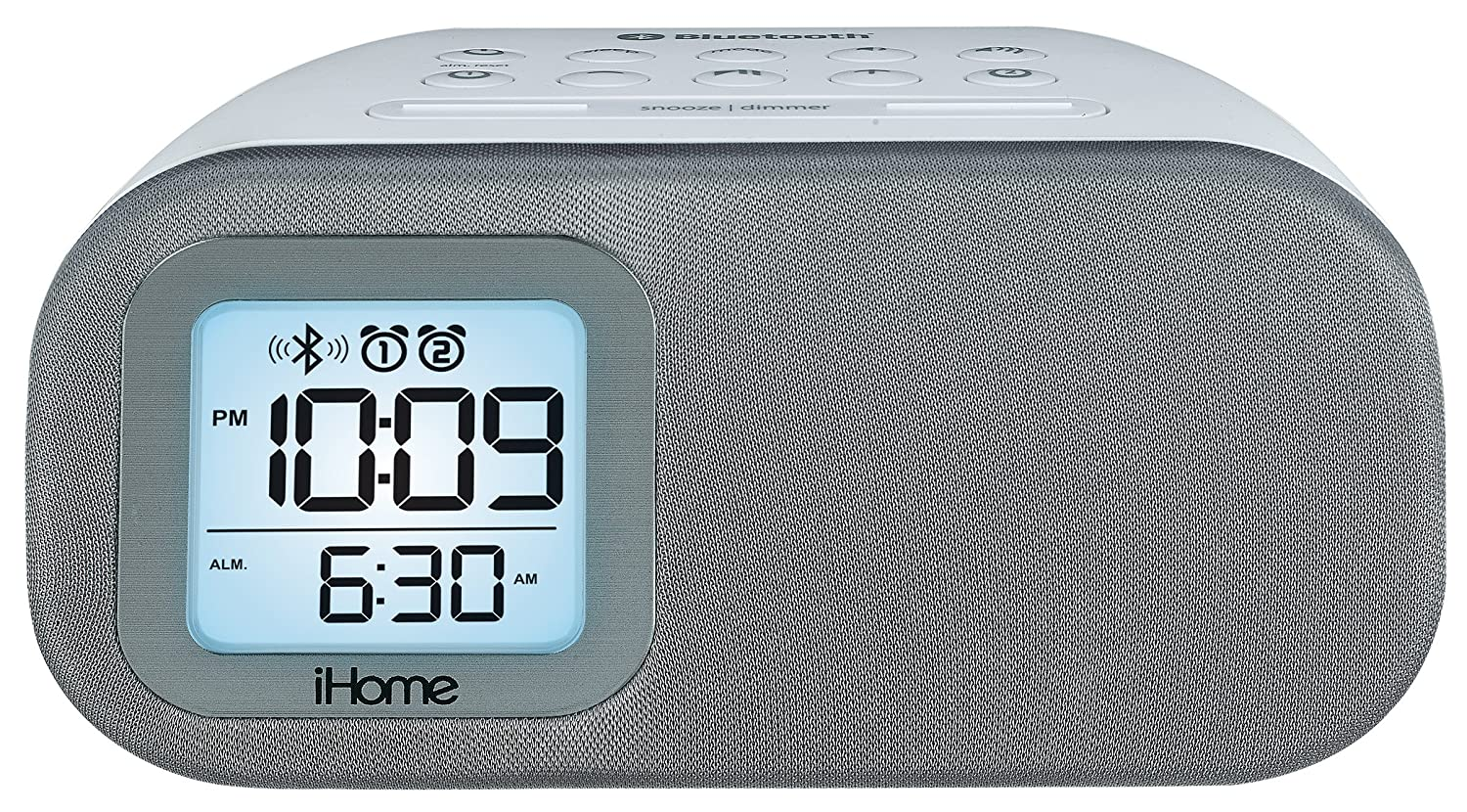 SDI Technologies iBT210B Bluetooth Dual Alarm FM Clock Radio with Speakerphone and USB Charging, Black