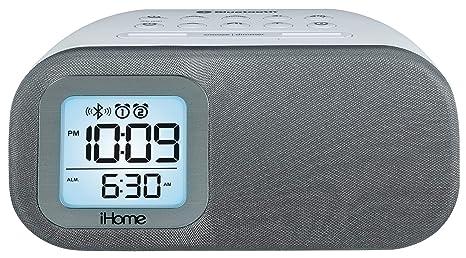 88d26fb9ef7 iHome iBT210WS Bluetooth Dual Alarm FM Clock Radio with Speakerphone and  USB Charging - White