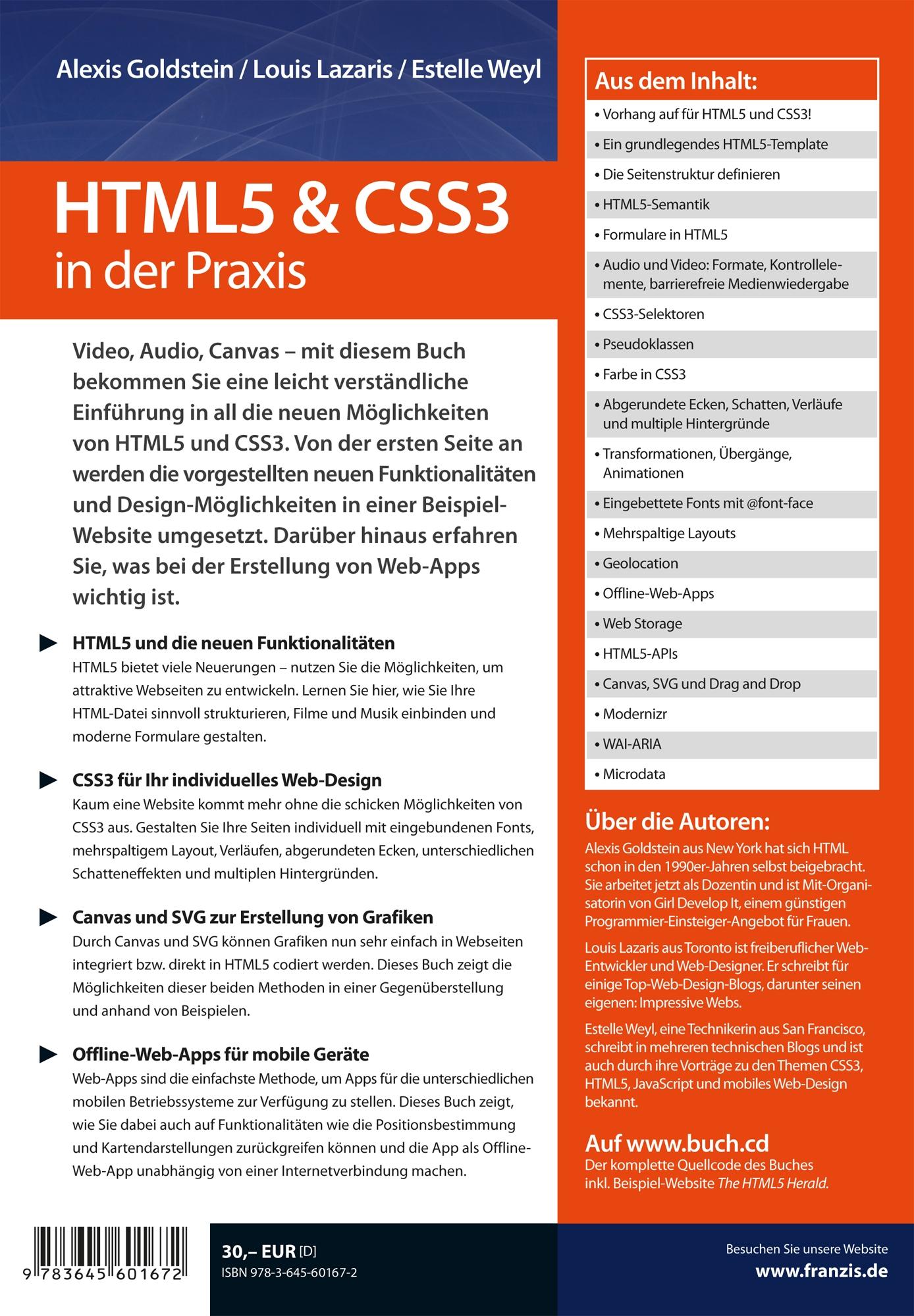 HTML5 & CSS3 in der Praxis: Amazon.de: Alexis Goldstein, Louis ...