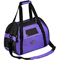 Kaka mall Pet Carrier Waterproof Fabric Padded Soft Sided Airline Approved Portable Collapsible Mesh Breathable for Medium Dogs Cats Travel Bag Can be Connected with Car Seat Belts (Purple, Large)