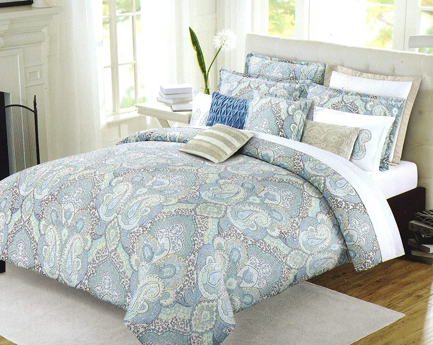 Amazon com nicole miller home full queen duvet cover and shams set turquoise teal grey green paisley large moroccan medallion print home kitchen