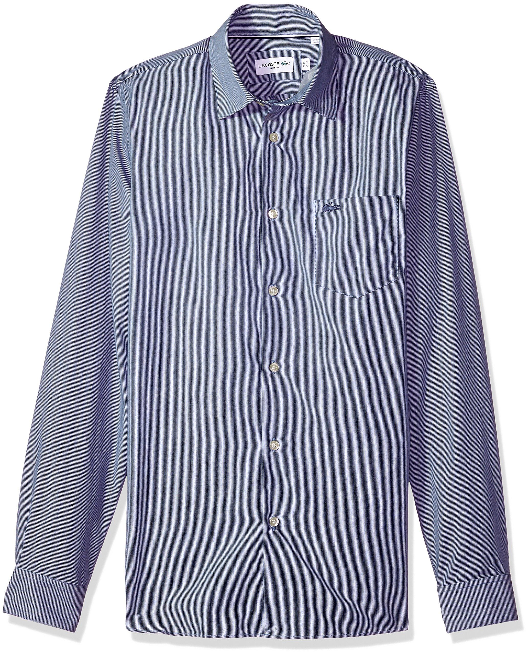 Lacoste Men's Long Sleeve Finely Striped-Poplin Slim Woven Shirt, Ch4989, Marino/White, 40