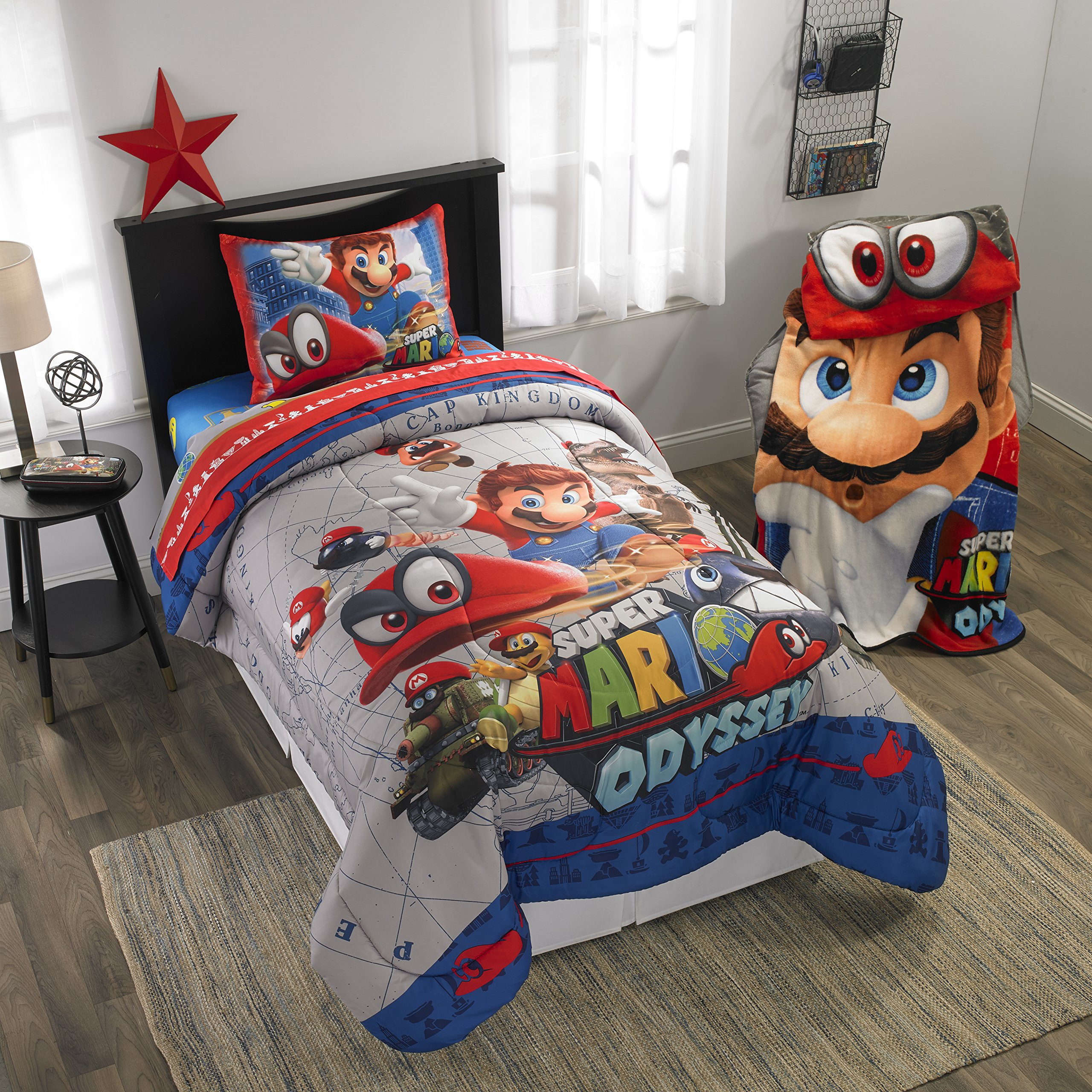 A&L 3 Piece Kids Blue Super Mario Sheet Set Twin, Red Odyssey Bedding Video Games Bed Sheets Tanks Hats Buildings Fun Bright Bold Soft Cozy Comfortable Yellow Green Brown Durable, Polyester