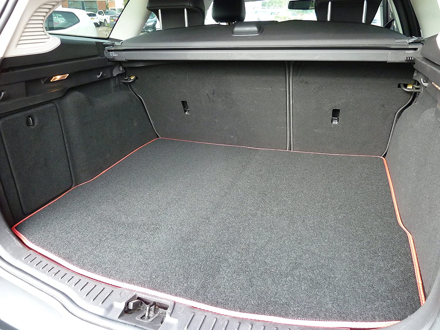 Connected Essentials Tailored Custom Fit Luxury Automotive Velour Carpet Boot Mat Boot Liner Black with Red Trim