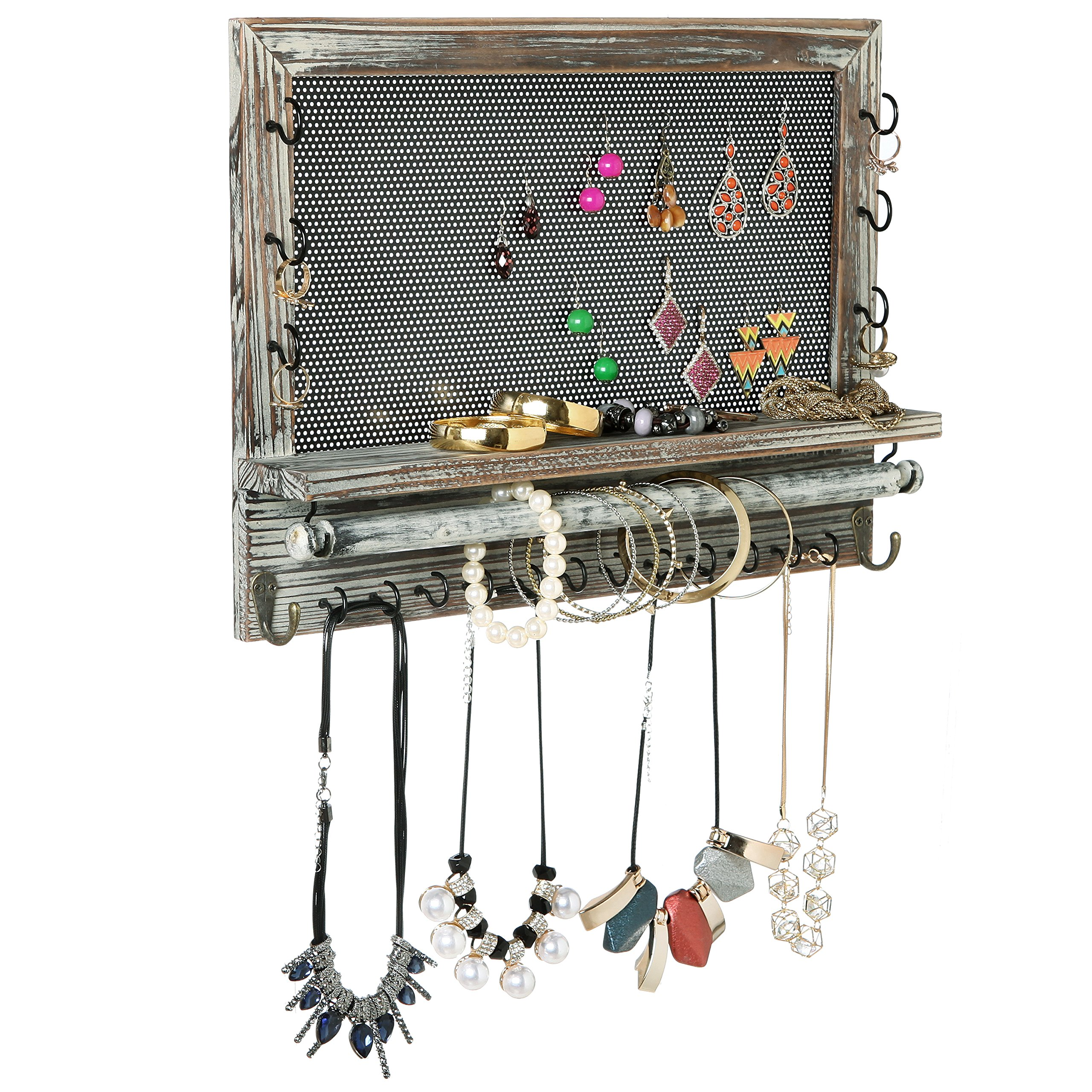 Rustic Wood & Metal Mesh Wall Mounted Jewelry Hanger, Necklaces, Bracelets & Earrings Organizer Rack by MyGift (Image #1)