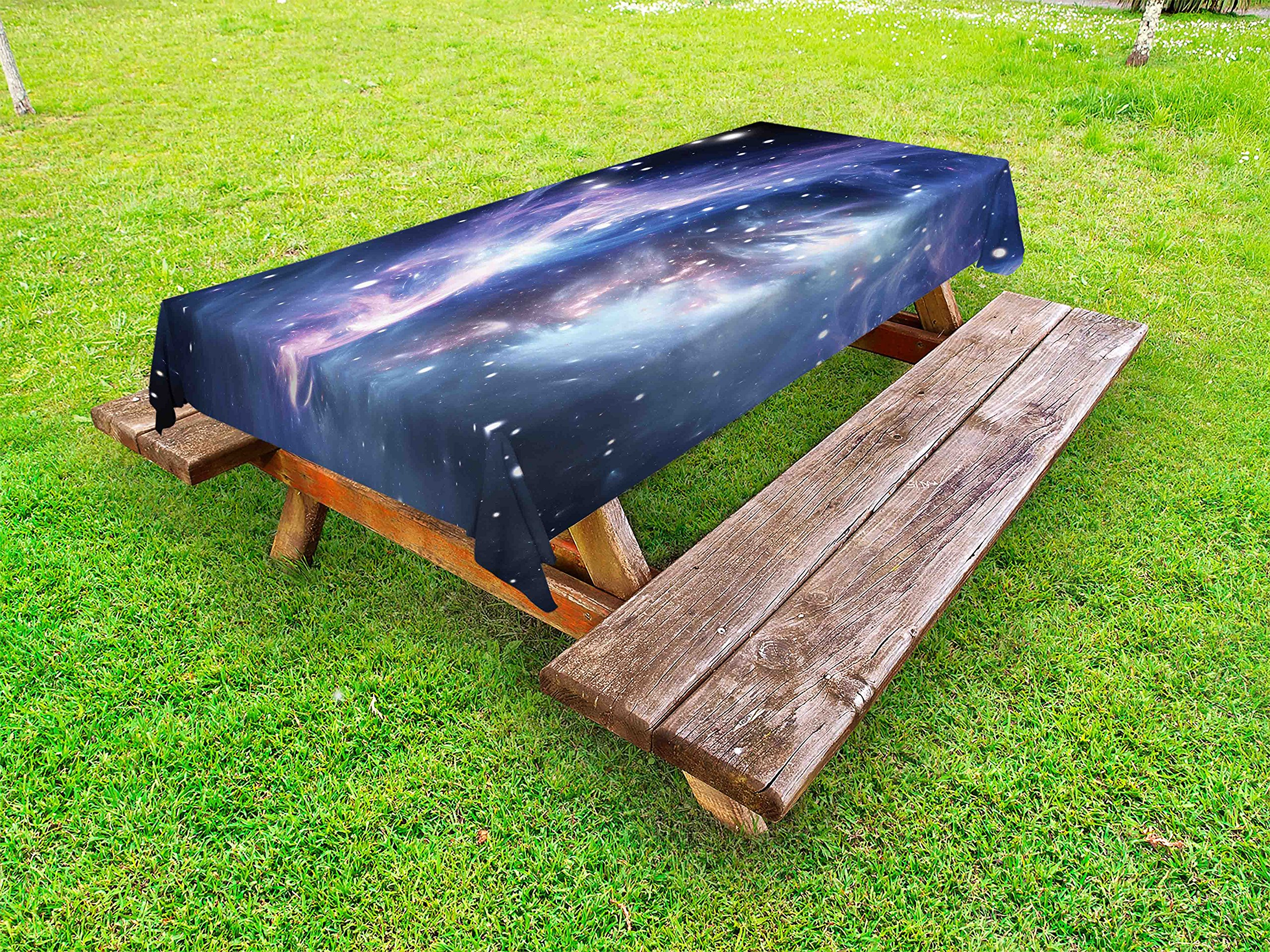 Lunarable Outer Space Outdoor Tablecloth, Mysterious Nebula Gas Cloud in Deep Ouuter Space with Cluster Universe Solar, Decorative Washable Picnic Table Cloth, 58 X 84 inches, Navy Purple