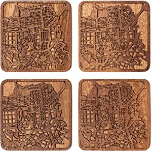 San Francisco Map Coaster by O3 Design Studio, Set Of 4, Sapele Wooden Coaster With City Map, Handmade