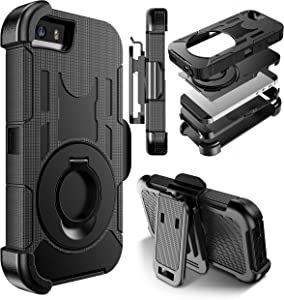 E LV Case for iPhone 5SE Case Cover Dual Layer Armor Defender Protective Case Cover with Kickstand and Belt Swivel Clip for iPhone 5 5S SE - [Black]