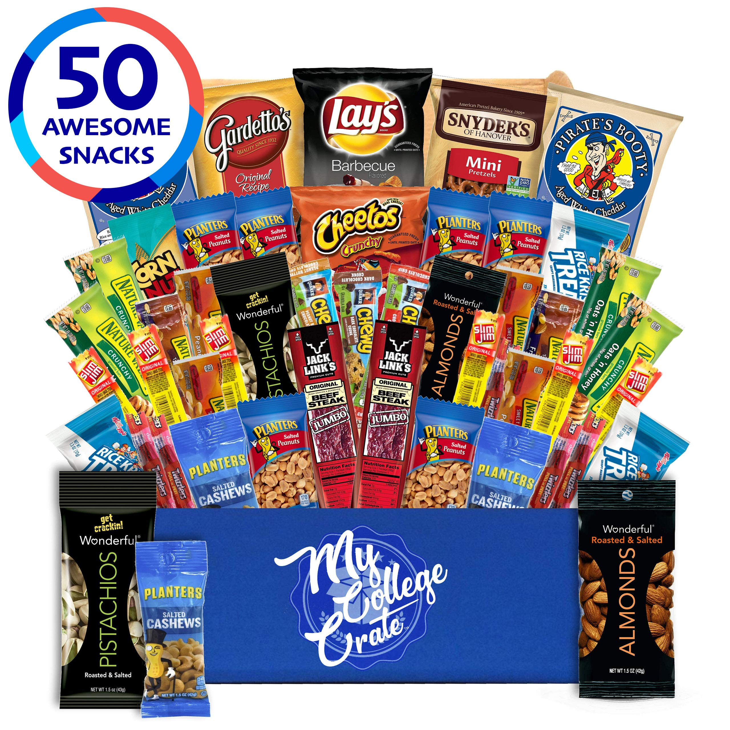 My  College  Crate - 50 Piece  Care Package for Men - Snack Box Variety Pack for Adults - Bulk Food Box  with  Chips, Jerky, Snack Bars, Nuts  and  Pretzels