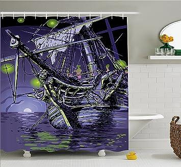 Pirat Schiff Duschvorhang, Durch Ambesonne, Geisterschiff Auf Fantasy  Karibik Ocean Adventure Island Haunted Schiff